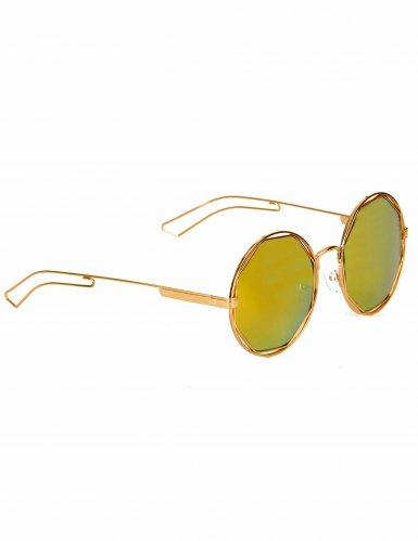Óculos redondos dourados metálicos - adulto