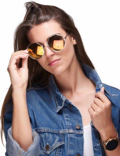 Óculos redondos dourados metálicos - adulto-1