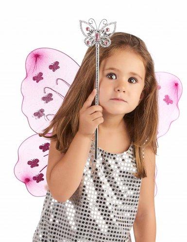 Varinha mágica borboleta rosa - adulto e criança-1