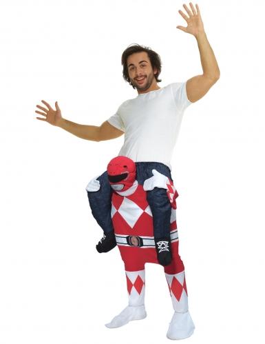 Disfarce homem as costas do Power Rangers™ vermelho adulto Morphsuits™