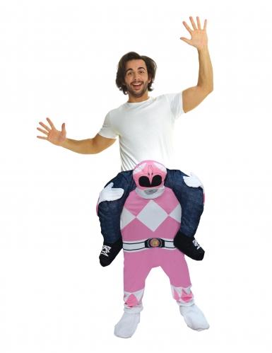 Disfarce homem as costas do Power Rangers™ cor-de-rosa adulto Morphsuits™
