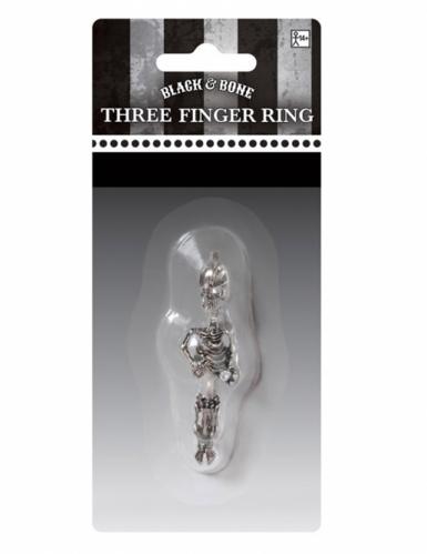Anel 3 dedos esqueleto Halloween adulto