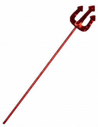 Tridente de diabo vermelho com lantejoulas adulto e criança