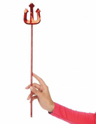 Tridente de diabo vermelho com lantejoulas adulto e criança-1