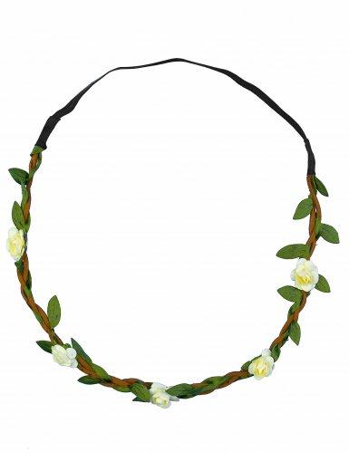 Coroa de flores brancas elástica adulto