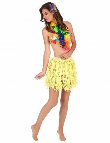 Saia havaiana curta amarela papel adulto