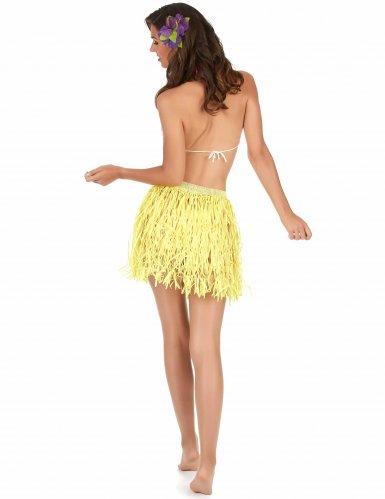 Saia havaiana curta amarela papel adulto-1
