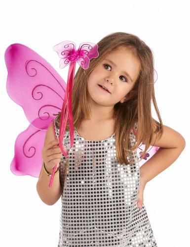 Asas de borboleta rosa e varinha mágica kitt - criança!-1