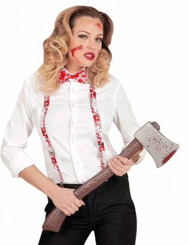 Suspensórios e laço sangrentos adulto Halloween-1