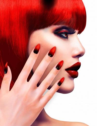 Unhas falsas adesivas pretas e vermelhas mulher