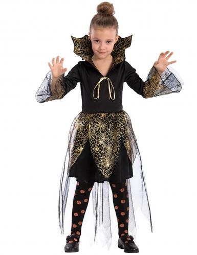 Disfarce vampira teia de aranha dourada menina Halloween