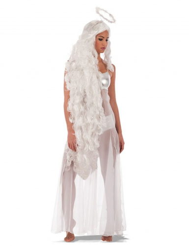 Peruca comprida de anjo com auréola mulher