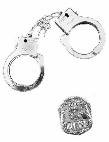 Kit polícia crachá e algemas - adulto