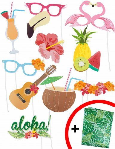 Kit photobooth Hawai 10 artigos!