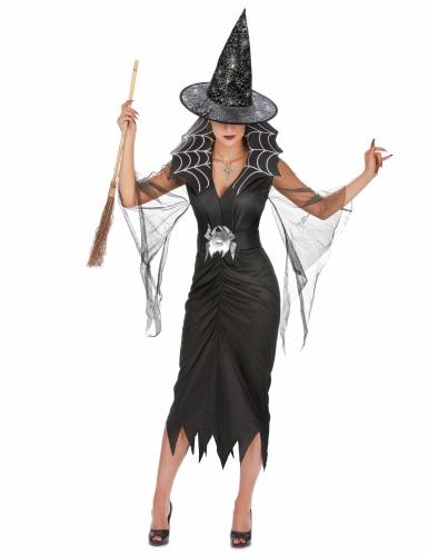 Pack disfarce de bruxa aranha mulher com vassoura e chapéu Halloween-1