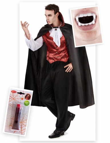 Pack disfarce vampiro homem com dentes e sangue falso Halloween