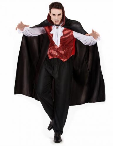 Pack disfarce vampiro homem com dentes e sangue falso Halloween-1