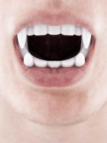 Pack disfarce vampiro homem com dentes e sangue falso Halloween-2