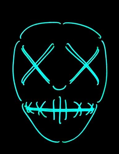 Máscara de néon olhos e boca cosidos