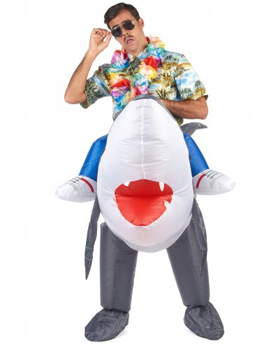 Disfarce tubarão insuflável adulto-1