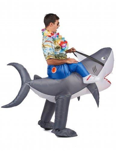 Disfarce tubarão insuflável adulto-2