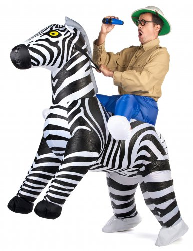 Disfarce zebra insuflável adulto