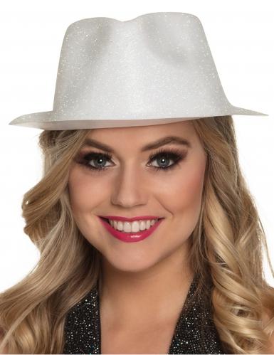 Chapéu brilhante branco adulto-1