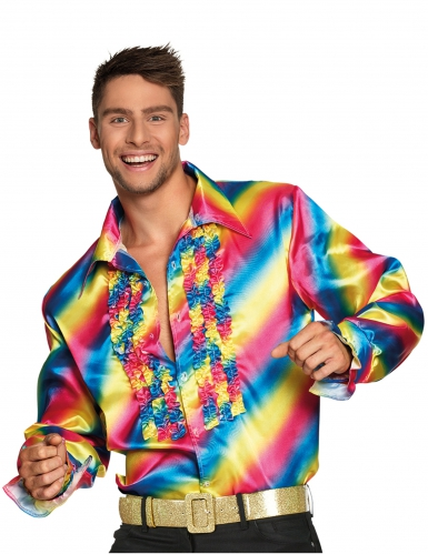Camisa disco arco-íris adulto
