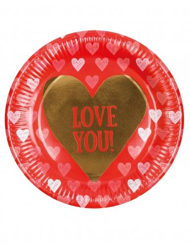 6 Pratos de cartão Love you