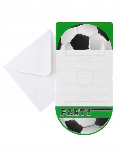 6 convites foot party 10 x 20 cm