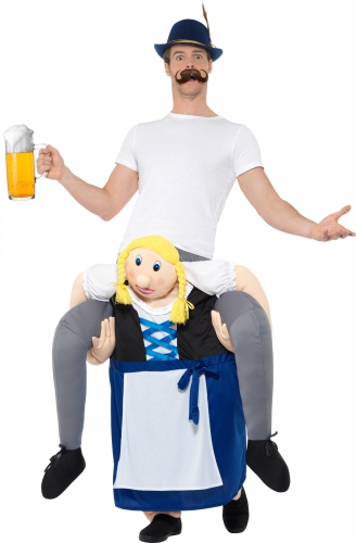Disfarce homem às costas de uma bávara azul Festa da cerveja