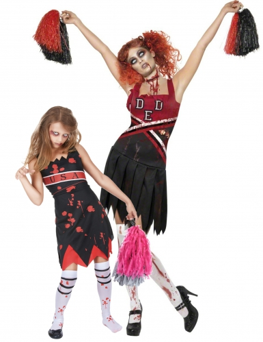 Disfarce pompom girls zombie Mãe e Filha Halloween