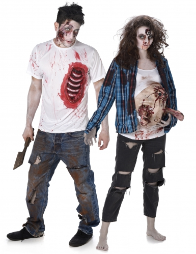 Disfarce de casal zombie trash Halloween