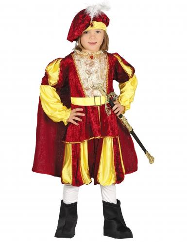 Disfarce rei veludo vermelho e amarelo menino