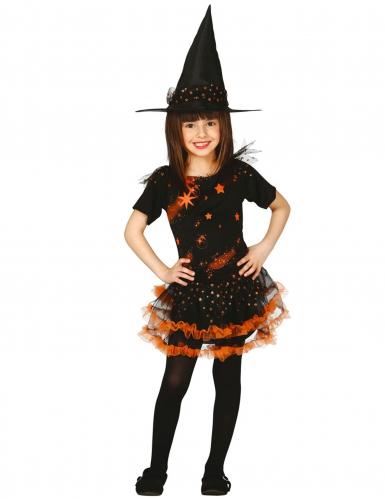 Disfarce de bruxa estrelada preto e cor-de-laranja menina Halloween