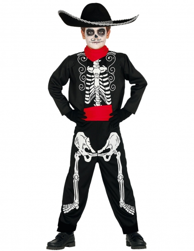 Disfarce esqueleto Dia dos Mortos menino