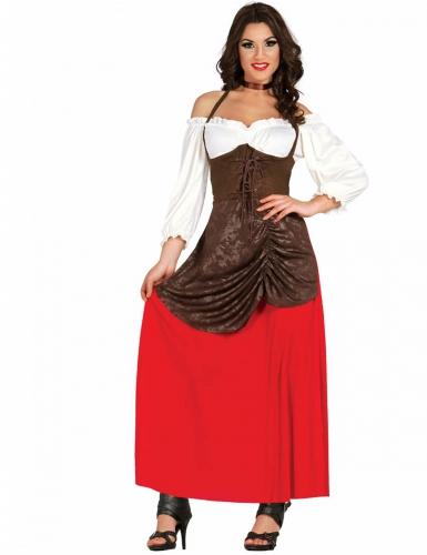 Disfarce taberneira castanha e vermelha mulher