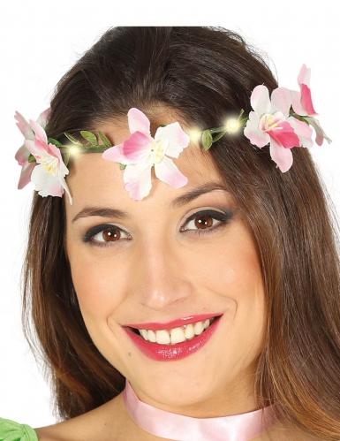 Coroa de flores cor-de-rosa luminosa adulto