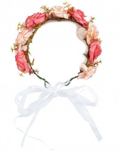 Coroa de rosas e flores brancas adulto-1