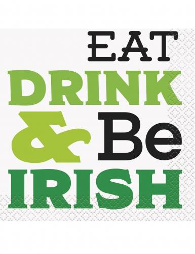 16 Guardanapos de cocktail Eat Drink & Be Irish