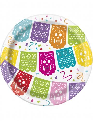 8 Pratos pequenos de cartão Festa Mexicana 18 cm