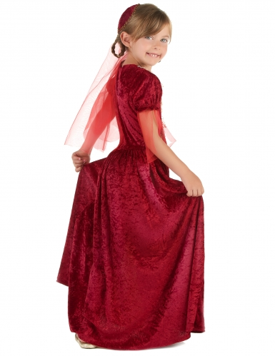 Disfarce condessa medieval vermelho menina-1