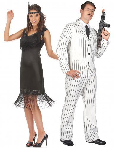 Disfarce de casal gangster e charlestone adultos