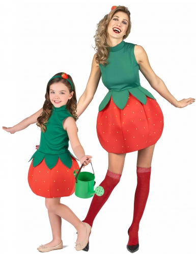 Disfarce de casal fruta morango Mãe e Filha
