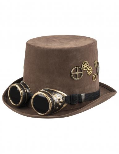 Chapéu alto castanho engrenagens e óculos Steampunk adulto-1