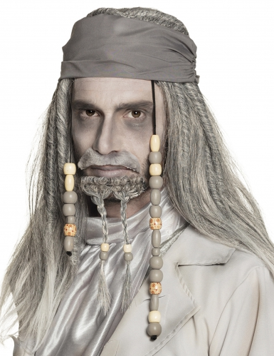 Peruca e bandana de pirata cinzenta homem