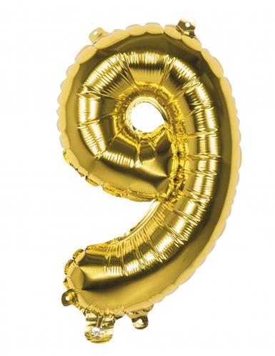Balão alumínio número 9 dourado