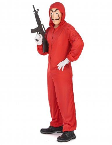 Disfarce macacão ladrão assaltante vermelho adulto-1