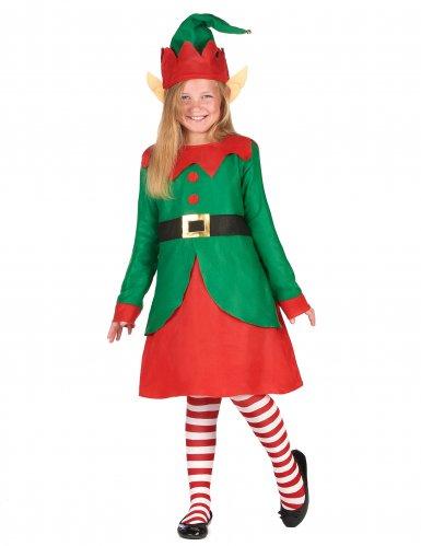 Disfarce vestido duende de Natal menina