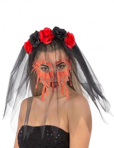Arco para cabelo com rosas e véu pretos cara ensanguentada mulher